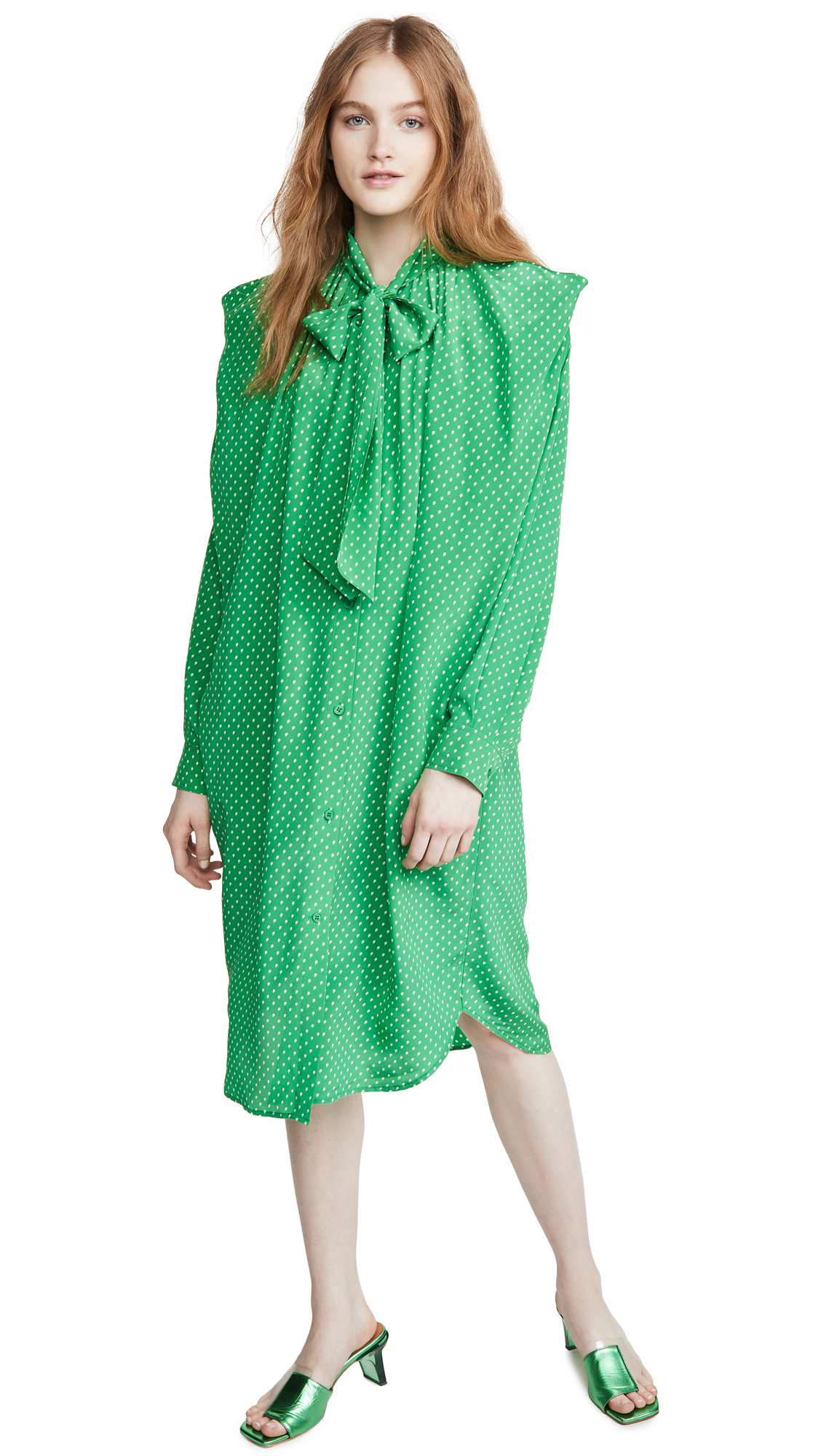 pushBUTTON Ribbon Neck Silk Shirt Dress - 40% Off Sale