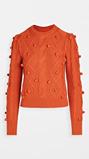 pushBUTTON Pom Pom Cable Knit Sweater