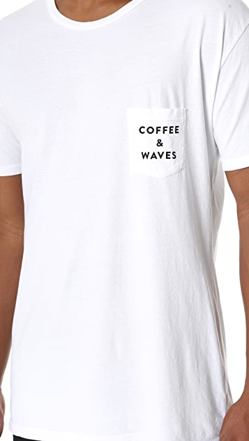 Quality Peoples Coffee & Waves Pocket Tee