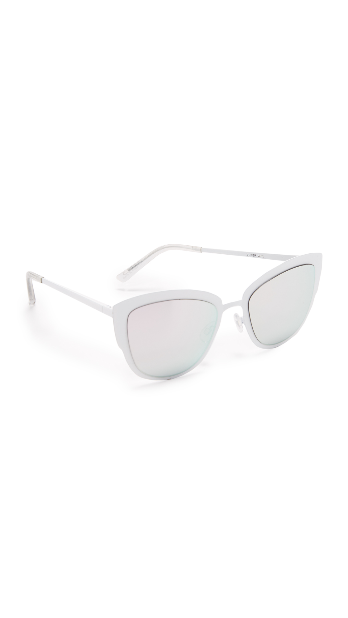 Enameled Quay sunglasses in a modern cat eye shape. Mirrored lenses. Soft case included. Cateye frame. Non polarized lenses. Imported, China. Measurements Width: 6in / 15cm Height: 2.25in / 5.5cm Lens Width: 53mm. Available sizes: One Size