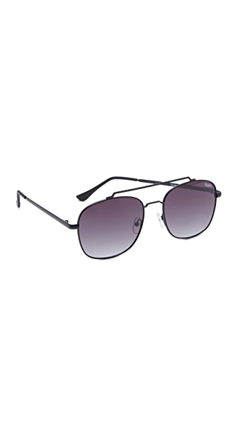 Quay To Be Seen Aviator Sunglasses - Black/Smoke