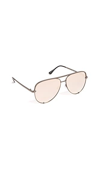 Quay x Desi Perkins High Key Sunglasses In Gunmetal/Peach