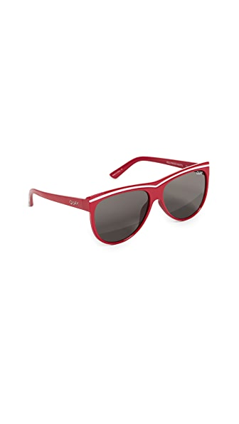 Quay Hollywood Nights Sunglasses In Red/Smoke