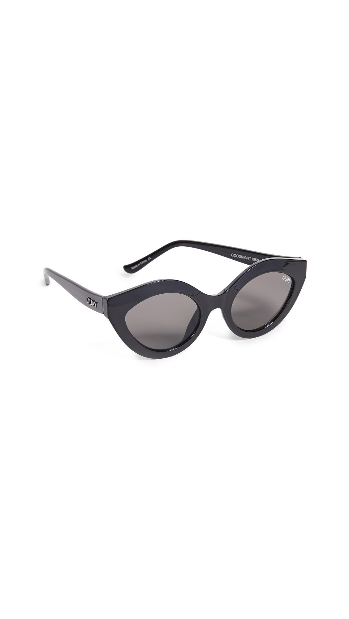 QUAY Goodnight Kiss Cat Eye Sunglasses - Black / Smoke in Black/Smoke