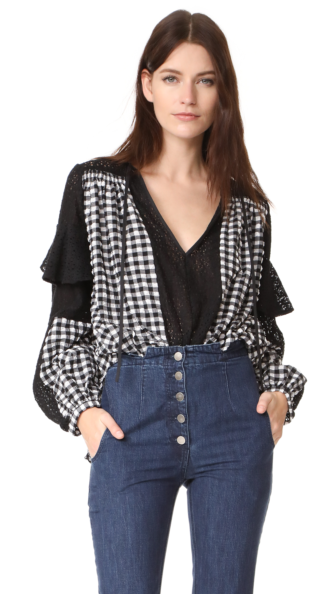 Rachel Comey Lace Willow Top - Black-Black