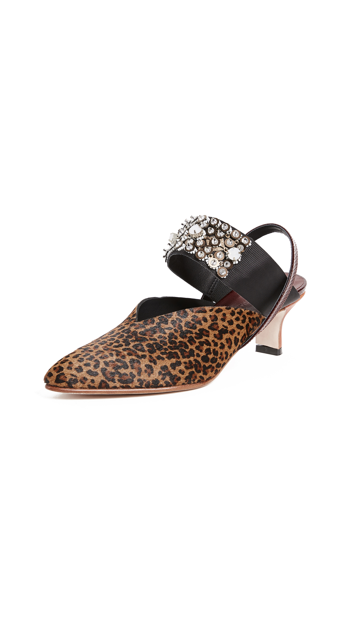 Rachel Comey Beaded Wext Kitten Heel Pumps - Leopard