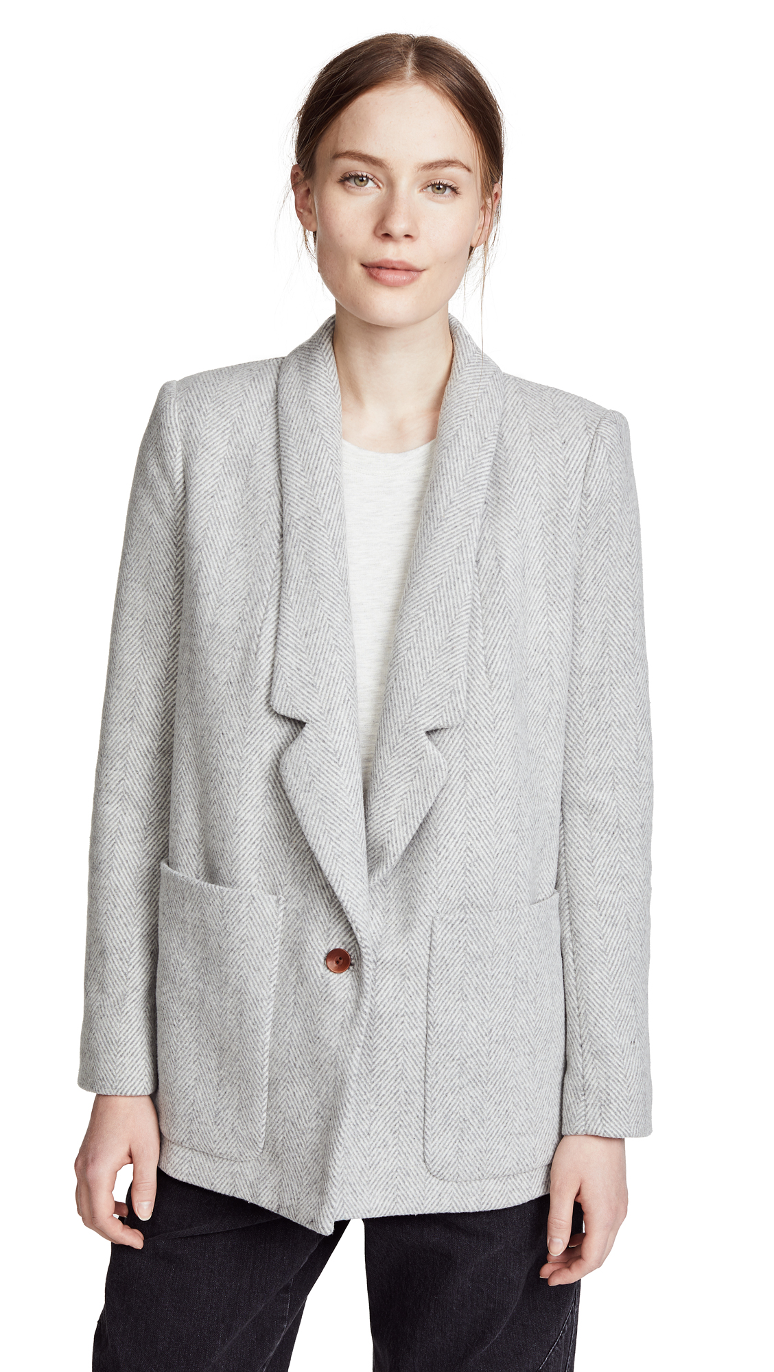 Rachel Comey Loveless Chevron Blazer In Light Grey