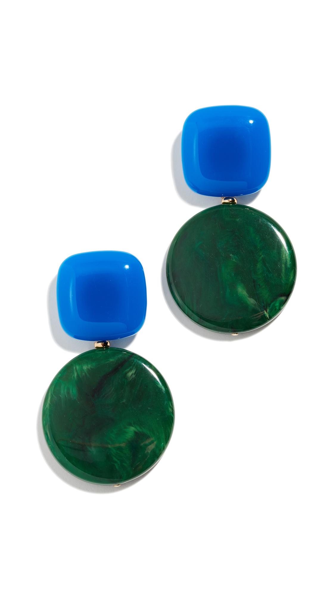 Arc Drop Earrings in Blue/Malachite