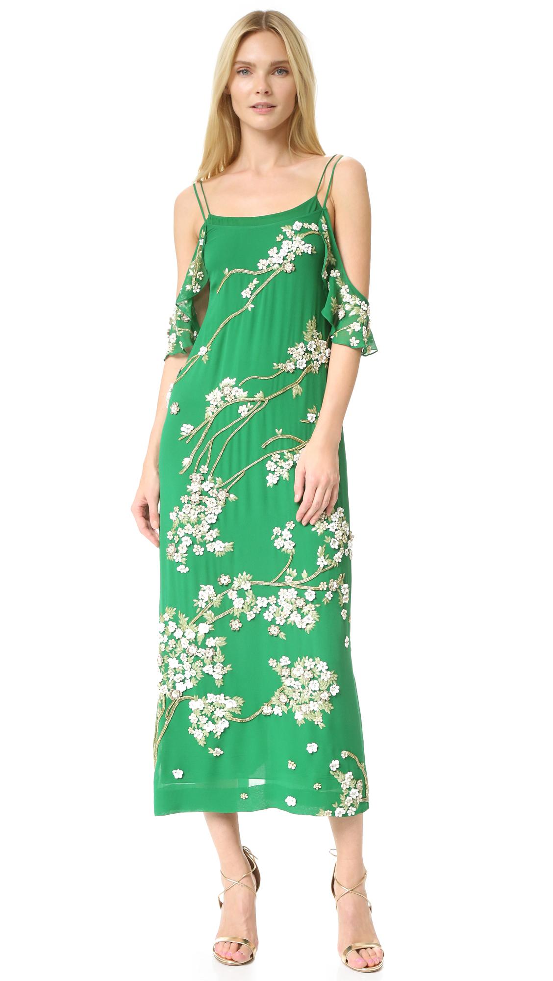 Rachel Zoe Stella Embellished Silk Gown - Emerald
