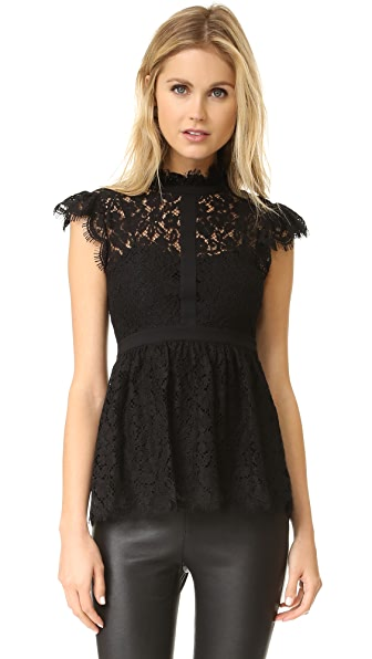 Rachel Zoe High Neck Paneled Lace Blouse - Black