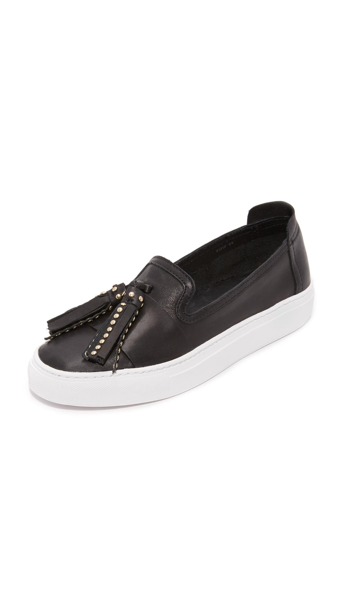rachel zoe female rachel zoe bern tassel slip on sneakers black