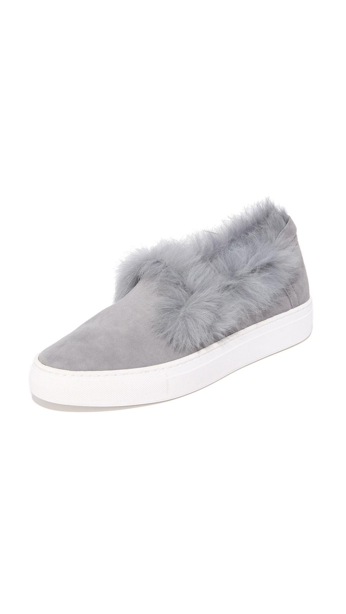 Rachel Zoe Burke Fur Slip On Sneakers - Steel
