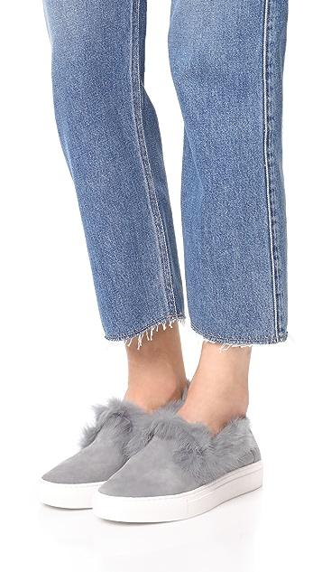 Rachel Zoe Burke Fur Slip On Sneakers