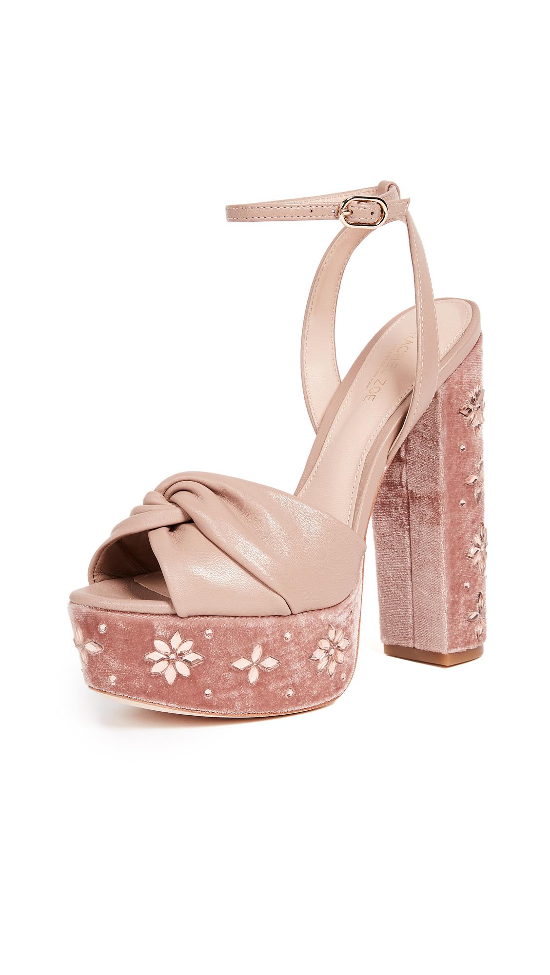 Rachel Zoe Claudette Crystal Platform Sandals - Nude