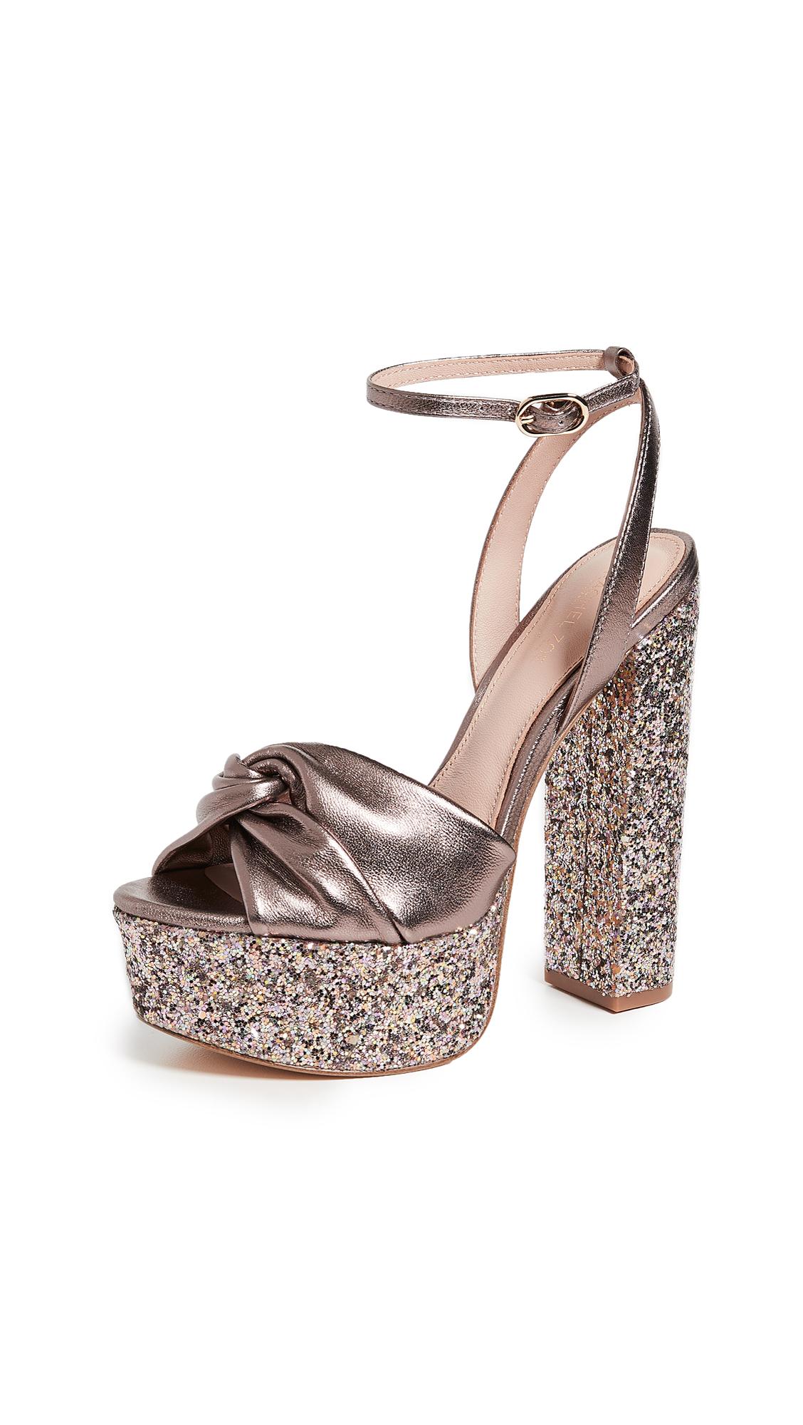 Rachel Zoe Claudette Glitter Platform Sandals - Blush Multi