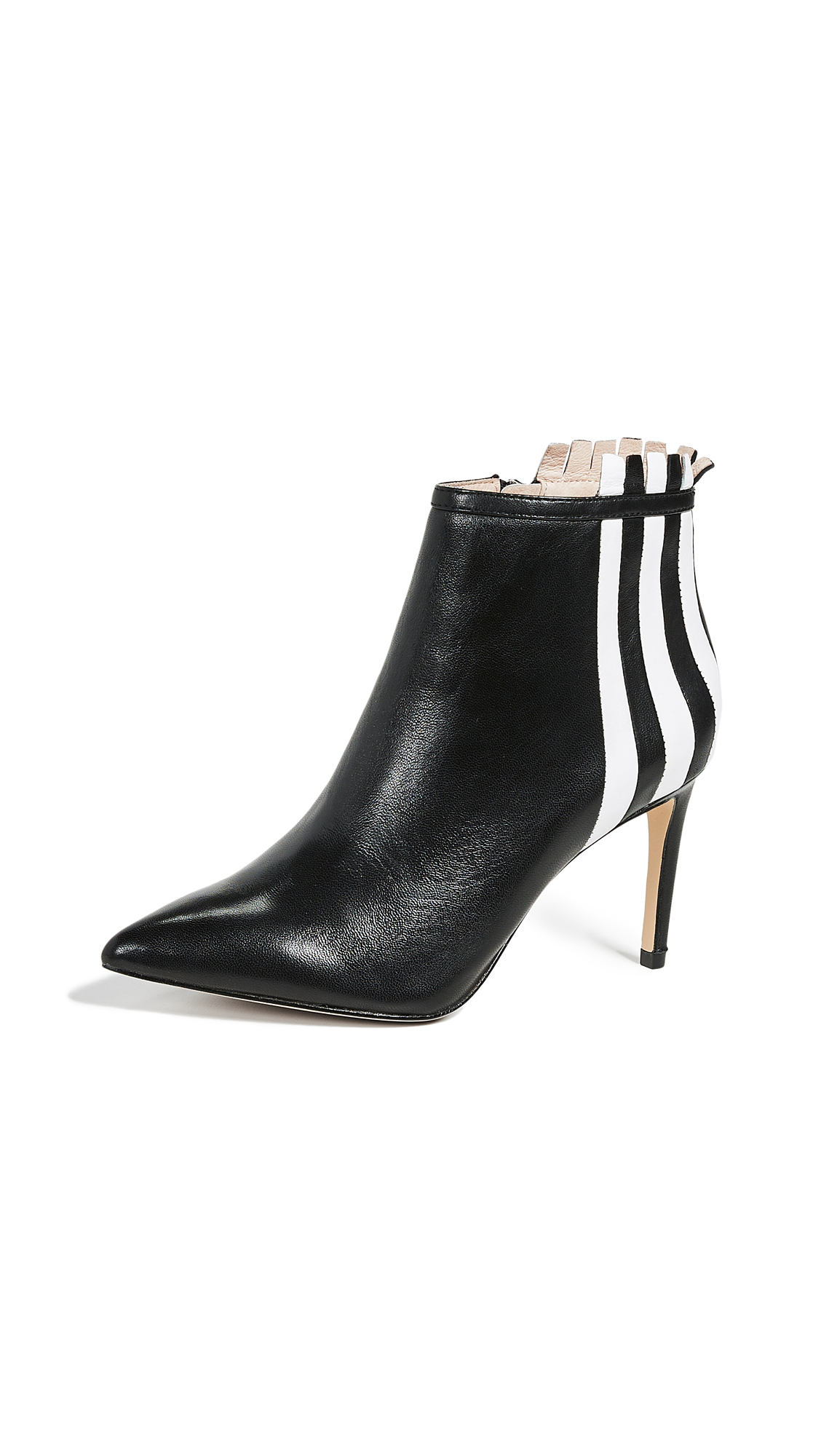 Rachel Zoe Taylor Stripe Ankle Boots - Black/White