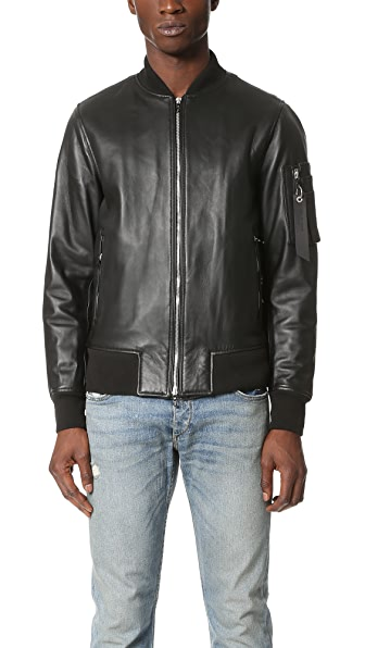Rag & Bone Manston Leather Bomber Jacket