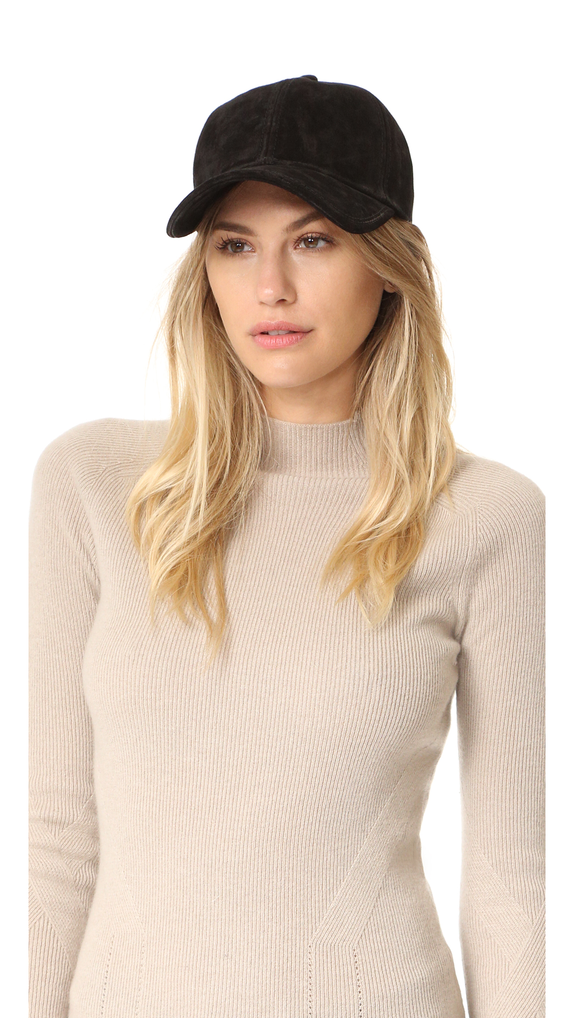 Rag & Bone Marilyn Baseball Cap - Black Suede