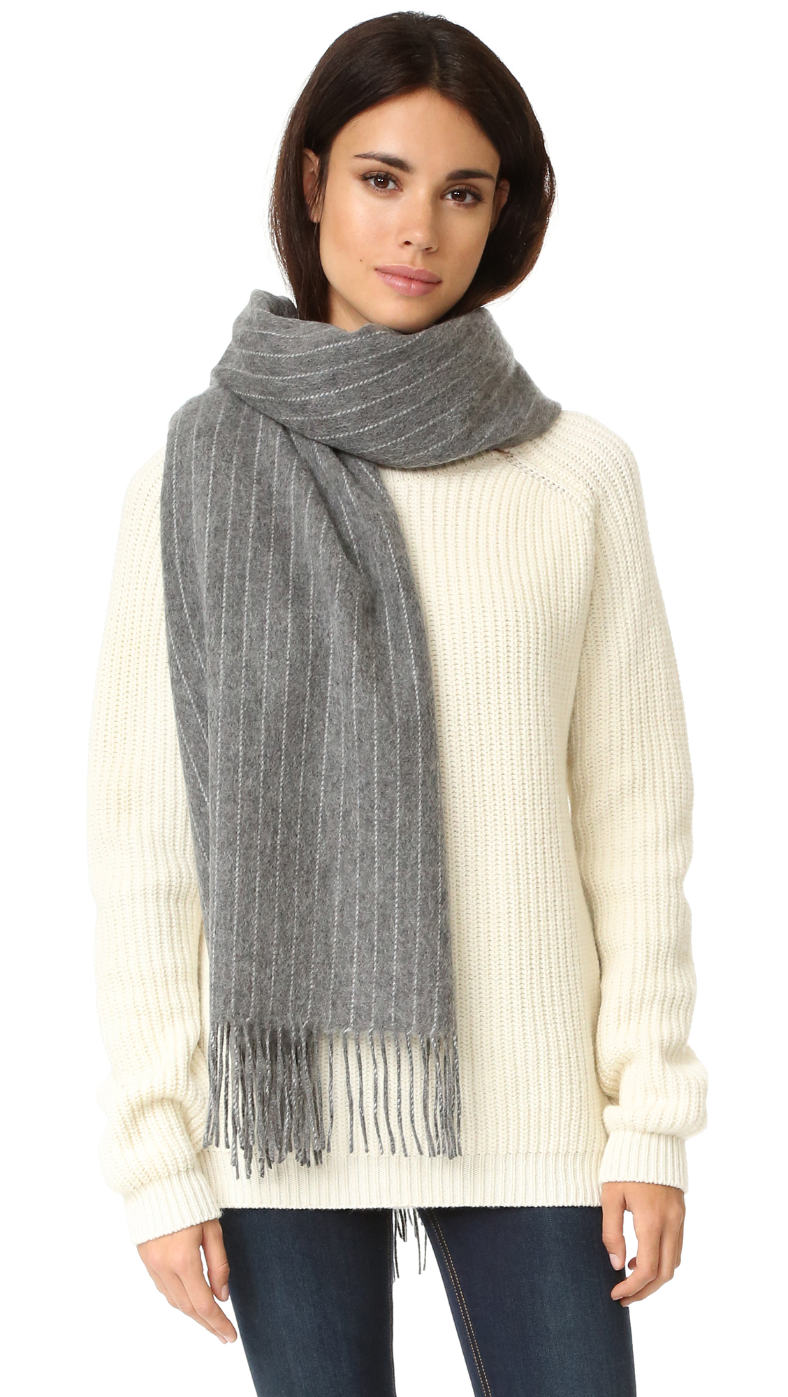 Rag & Bone Brushed Pinstripe Scarf - Charcoal