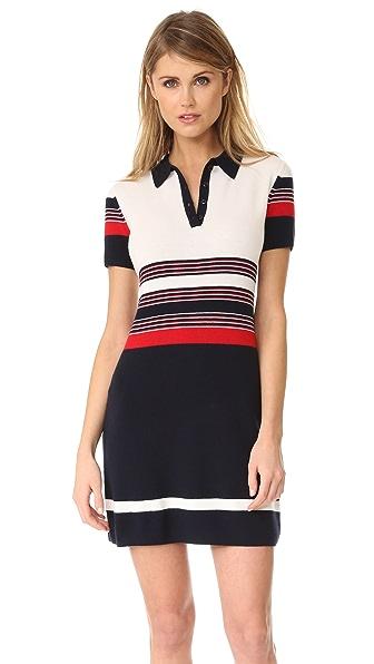 Rag & Bone Krista Stripe Polo Dress - White/Red