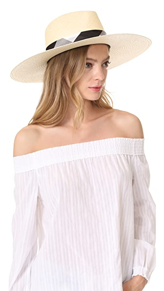 Rag & Bone Wide Brim Panama Hat - Natural Gingham