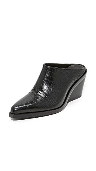 Rag & Bone Santiago Wedge Mules - Black Croco