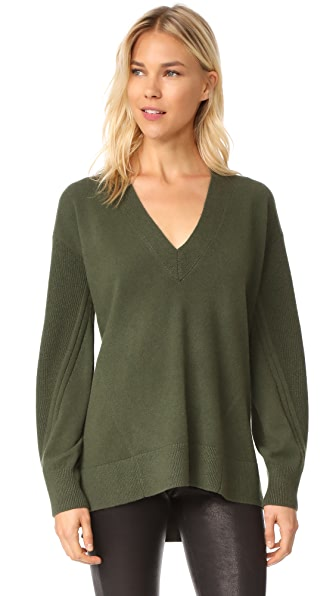 Rag & Bone Ace Cashmere V Neck Sweater - Green