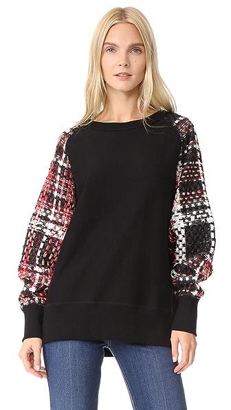 Rag & Bone Linton Racer Sweatshirt In Black/Red