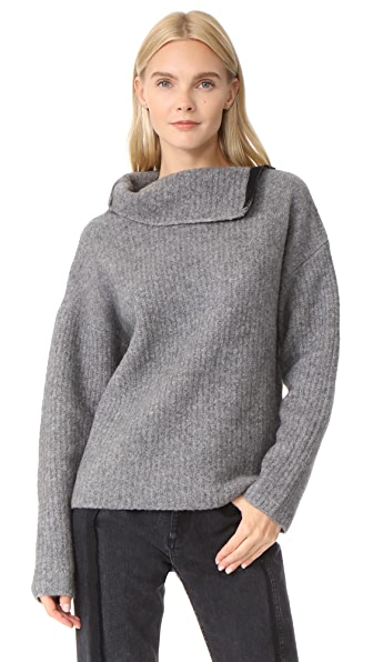 Rag & Bone Lyza Turtleneck Sweater - Grey Heather