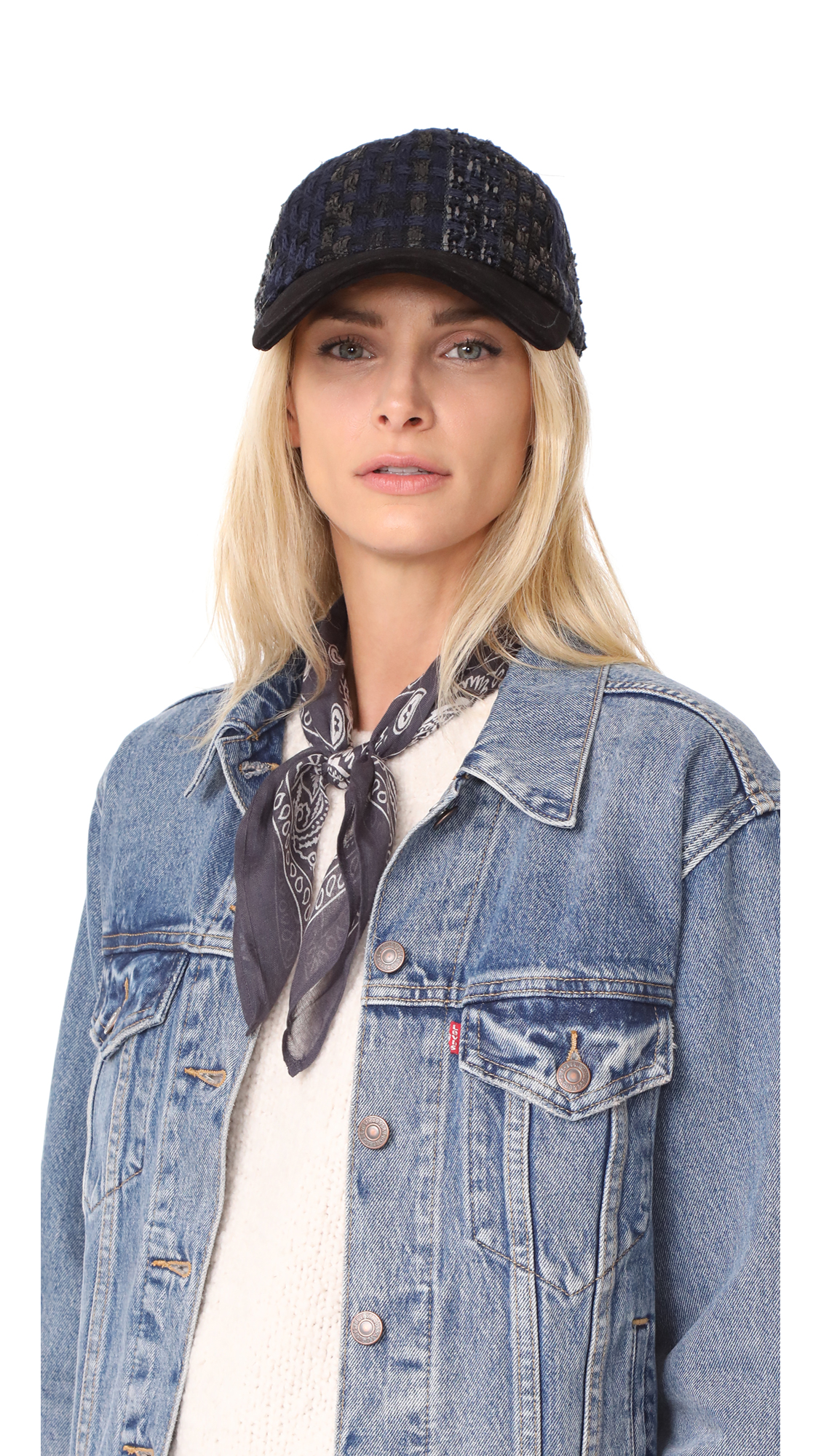 Rag & Bone Marilyn Tweed Baseball Cap - Blue Tweed