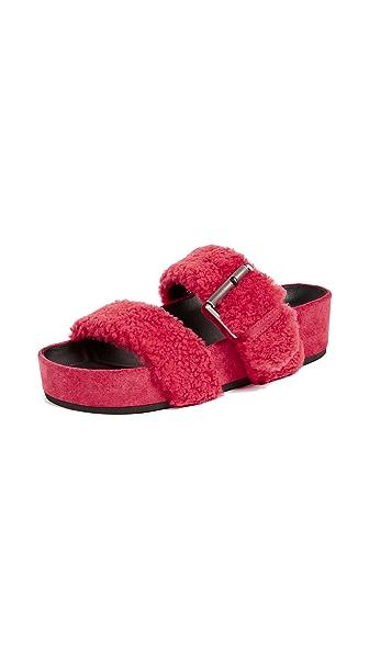 Evin Shearling Platform Slide Sandals