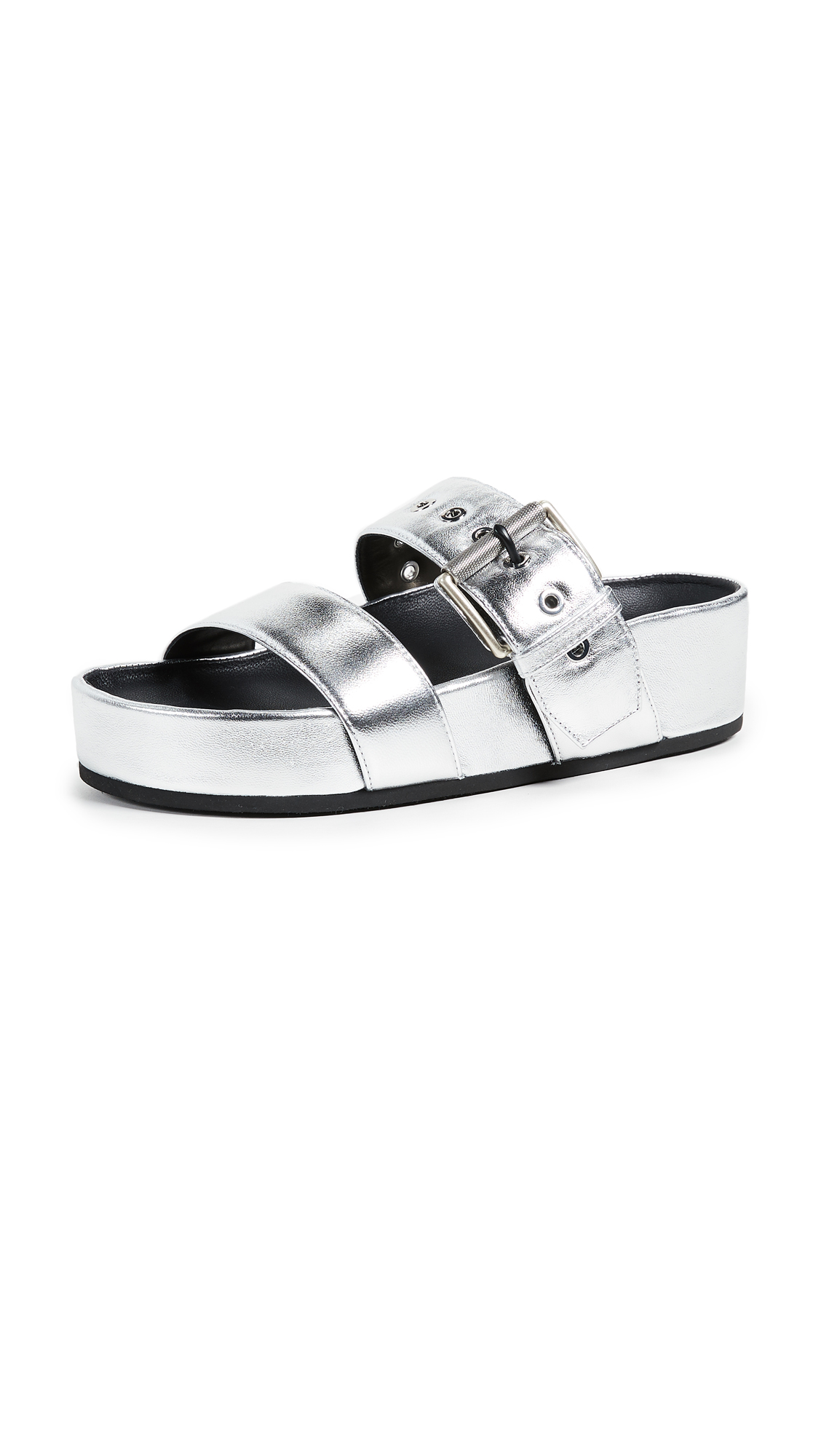 Rag & Bone Evin Buckle Slides - Silver