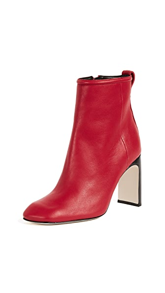 Ellis Lamb Leather Ankle Boots, Red