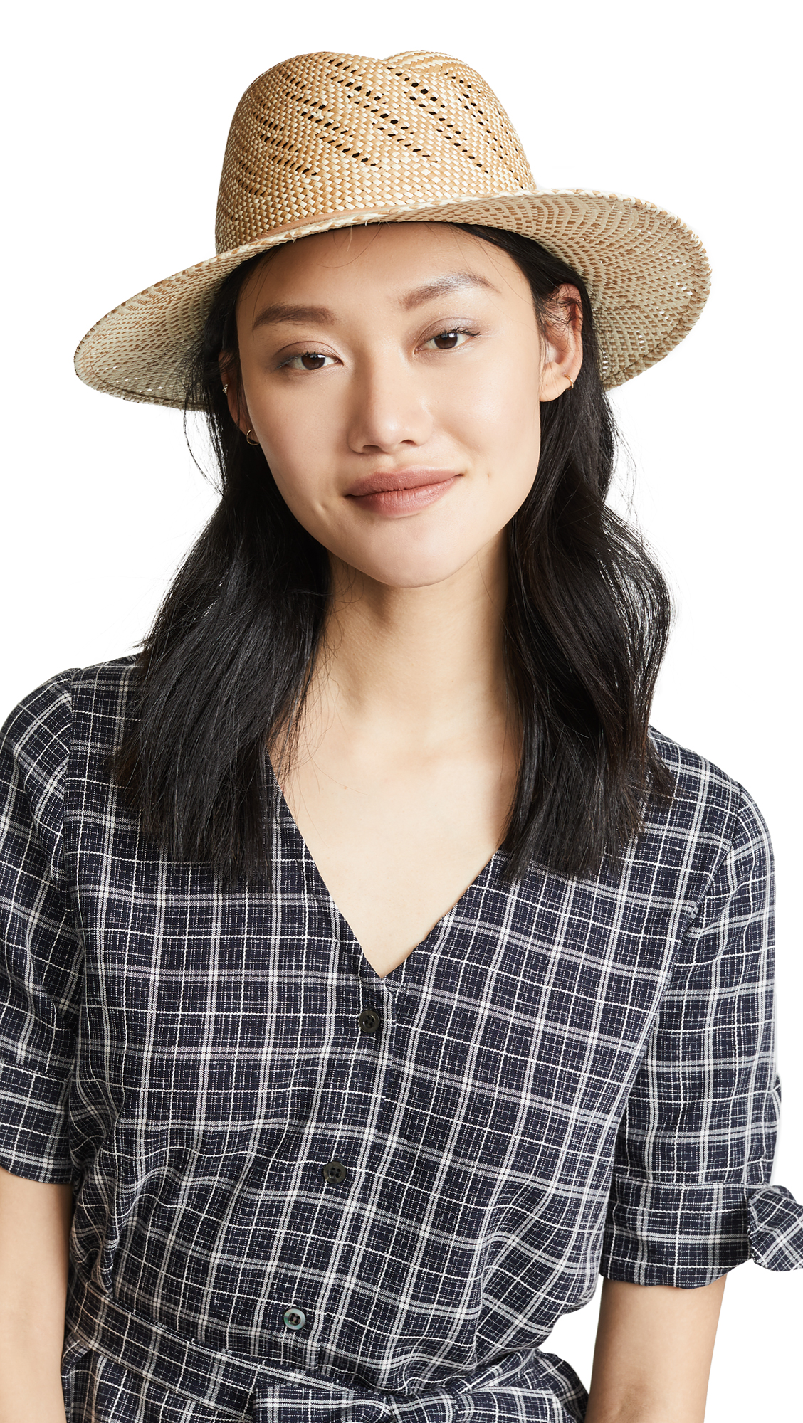 Zoe Two-Tone Straw Hat, Taupe Multi