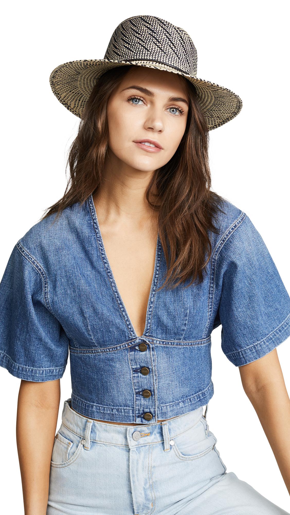 Zoe Two-Tone Straw Hat in Navy Multi