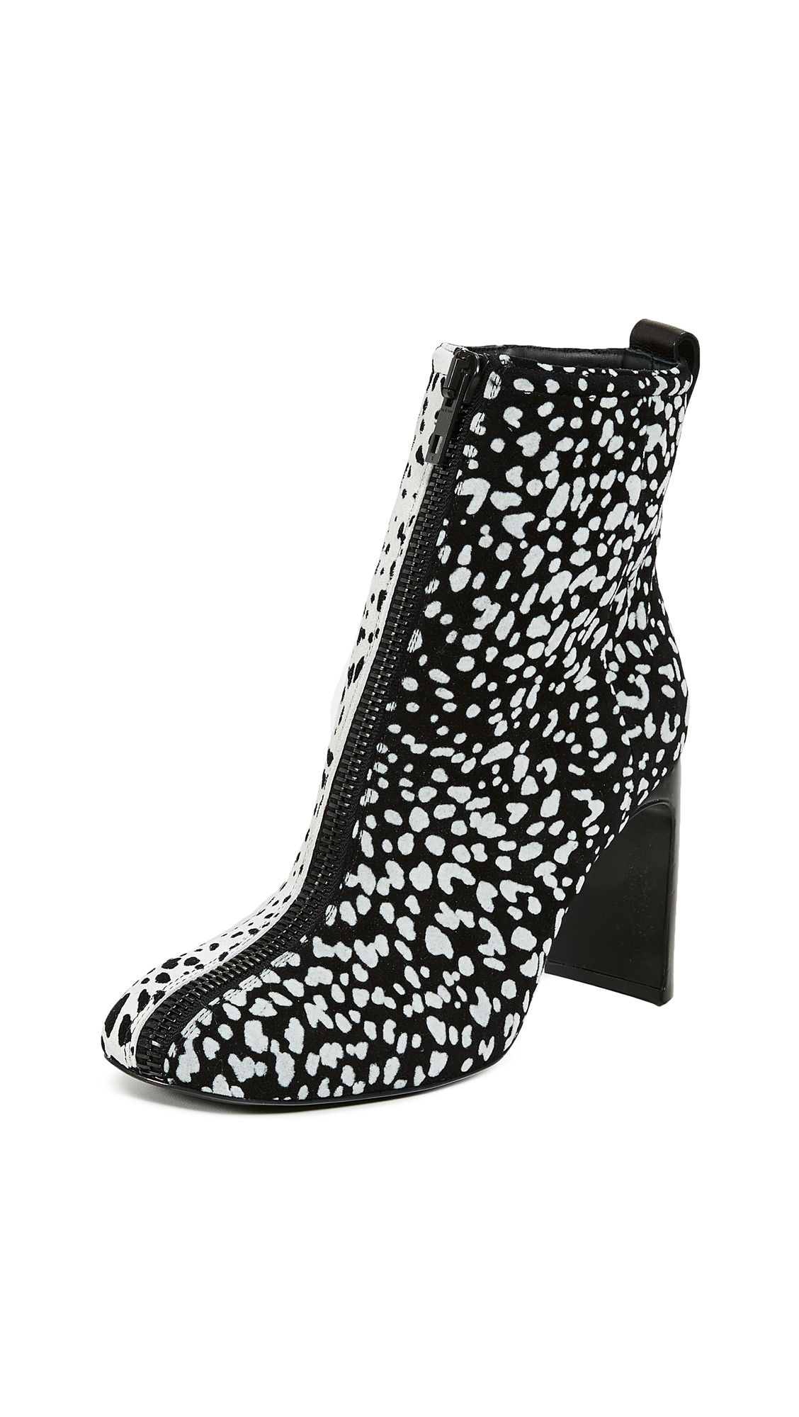 Rag & Bone Ellis Zip Booties - Black White Cheetah