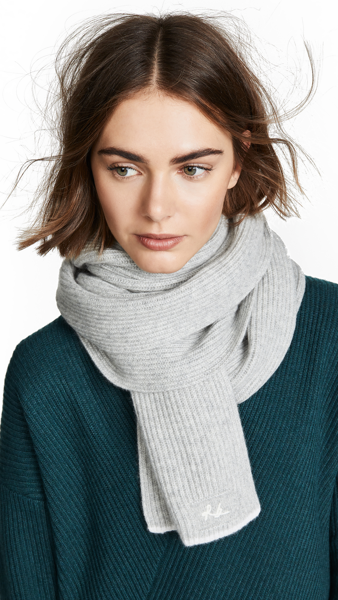 Rag & Bone Yorke Cashmere Scarf In Light Grey