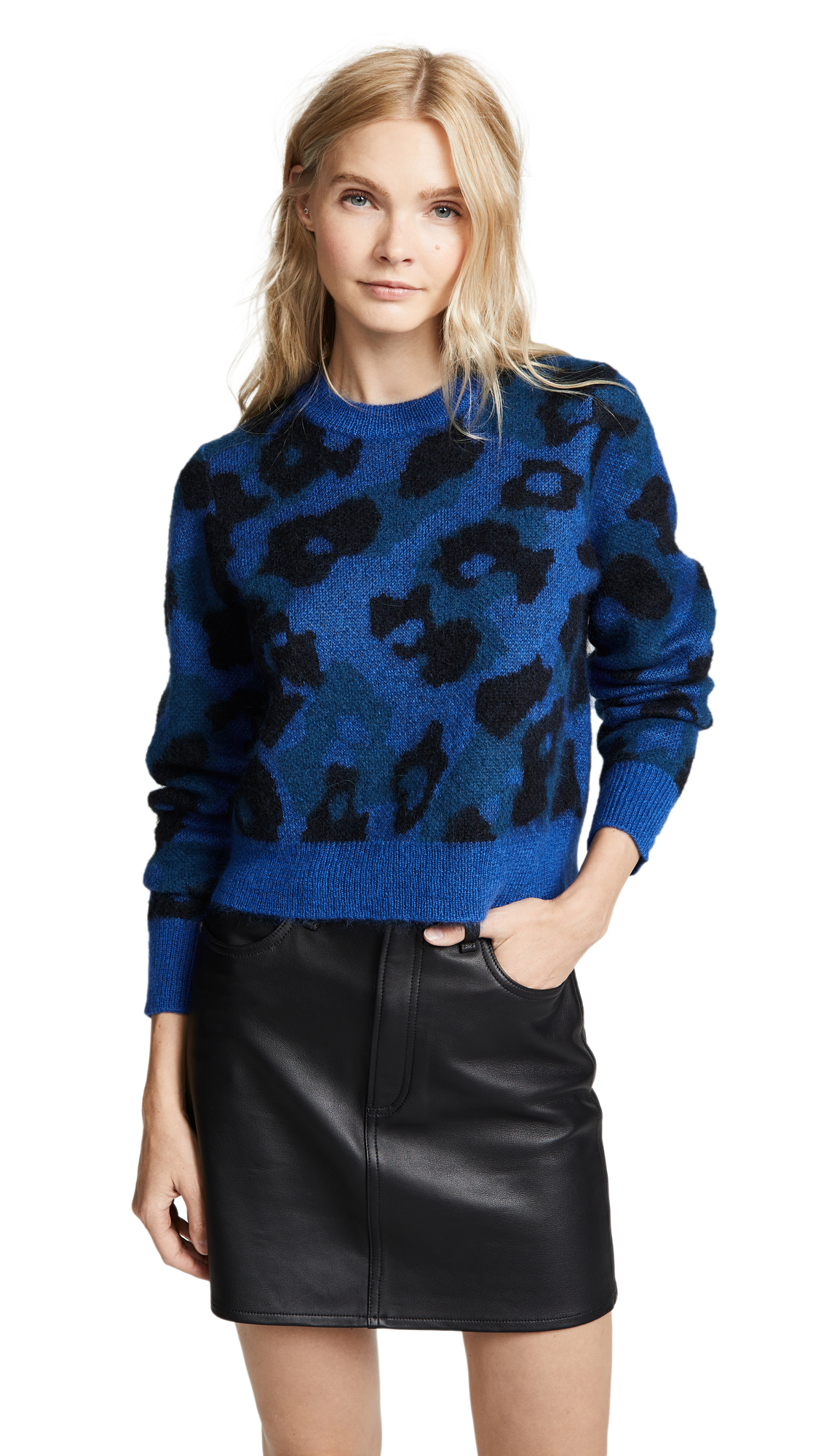 Leopard-Print Mohair-Blend Sweater - Blue Size M in Bright Blue
