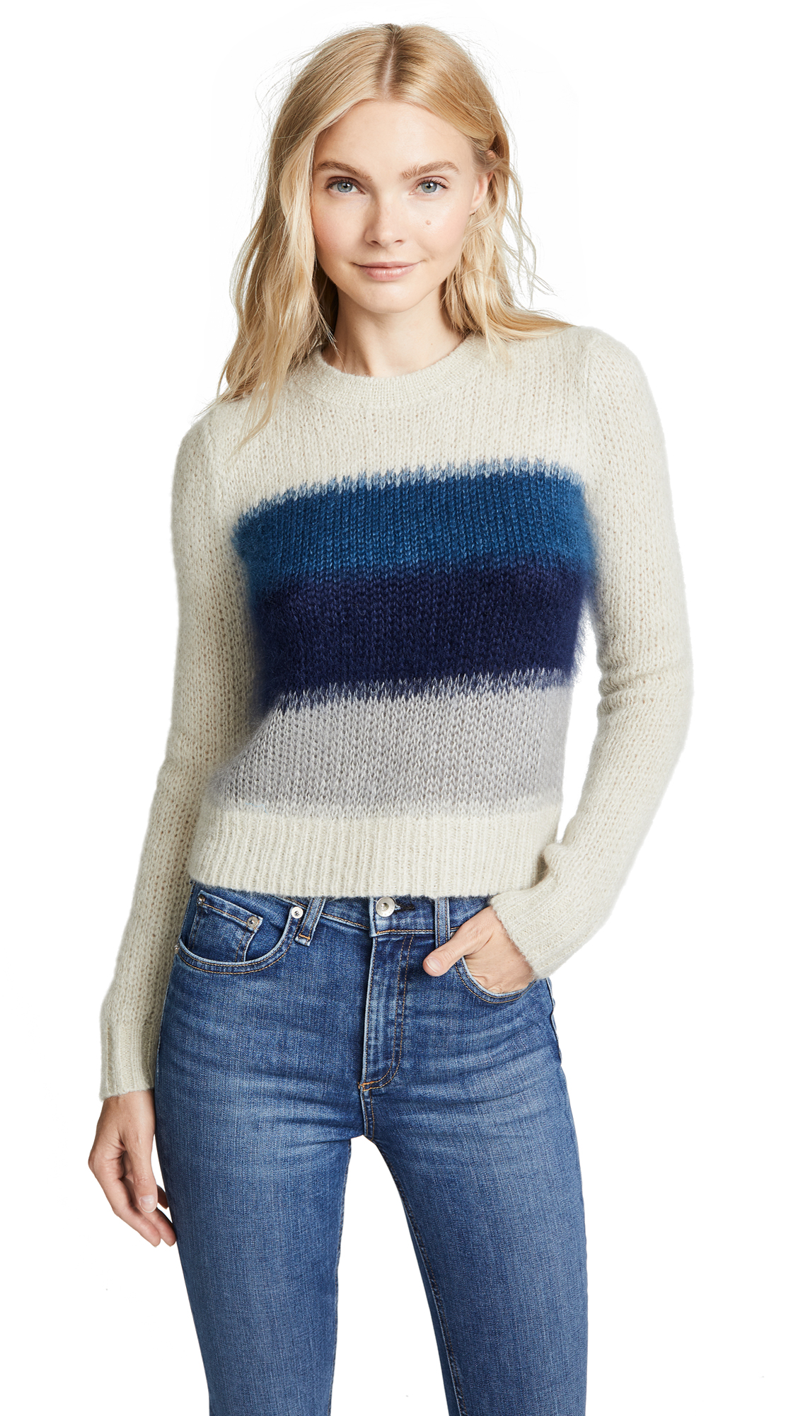 Rag & Bone Holland Sweater In Ivory/Blue