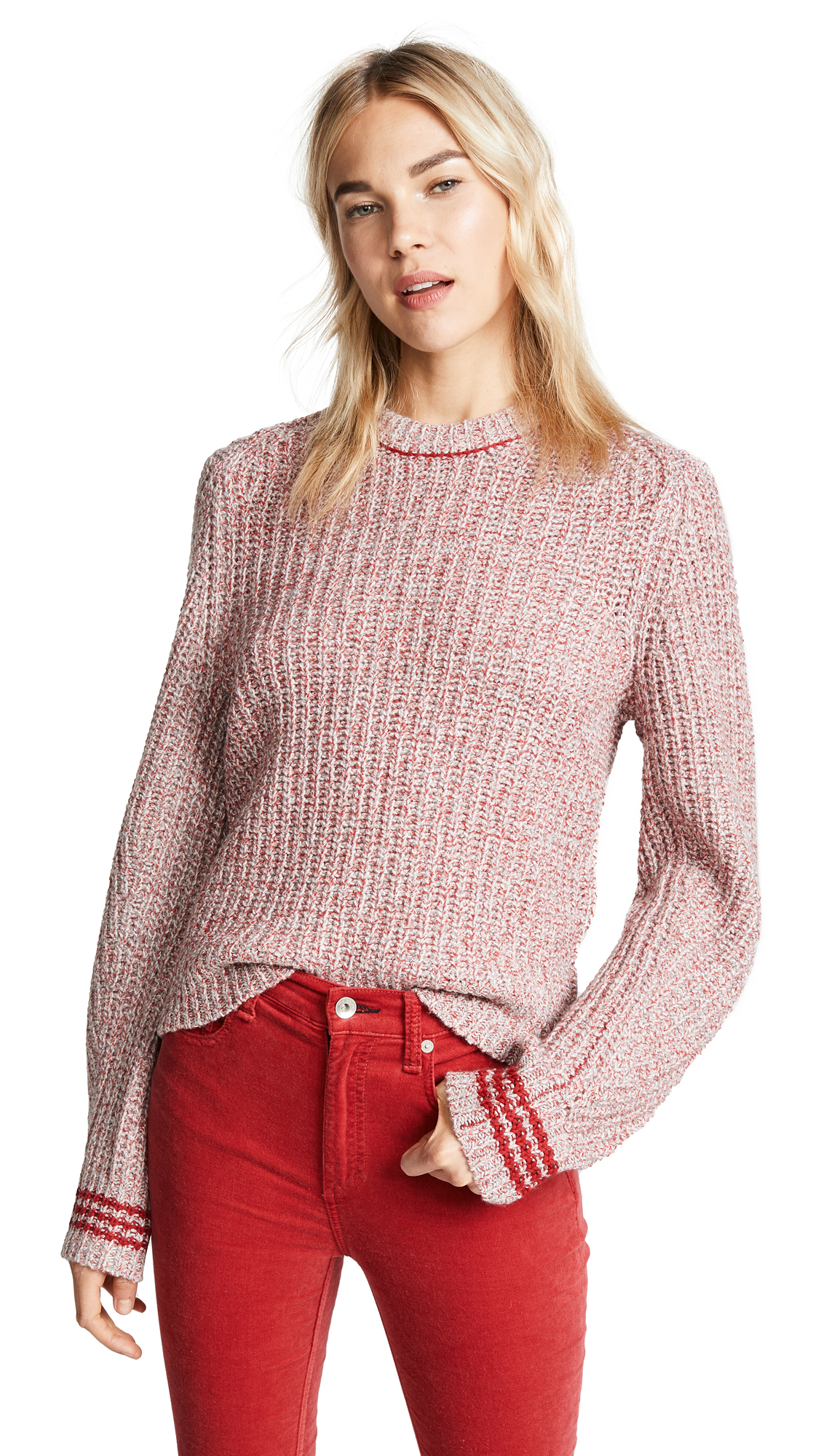 Rag & Bone Cheryl Sweater In Grey/Red