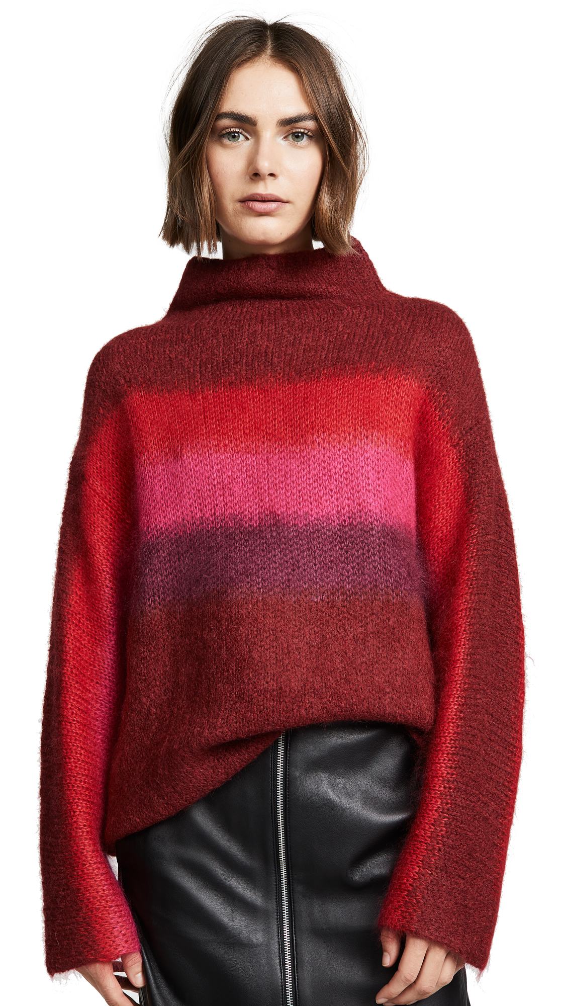 Rag And Bone Red Mohair Holland Sweater, Burgundy