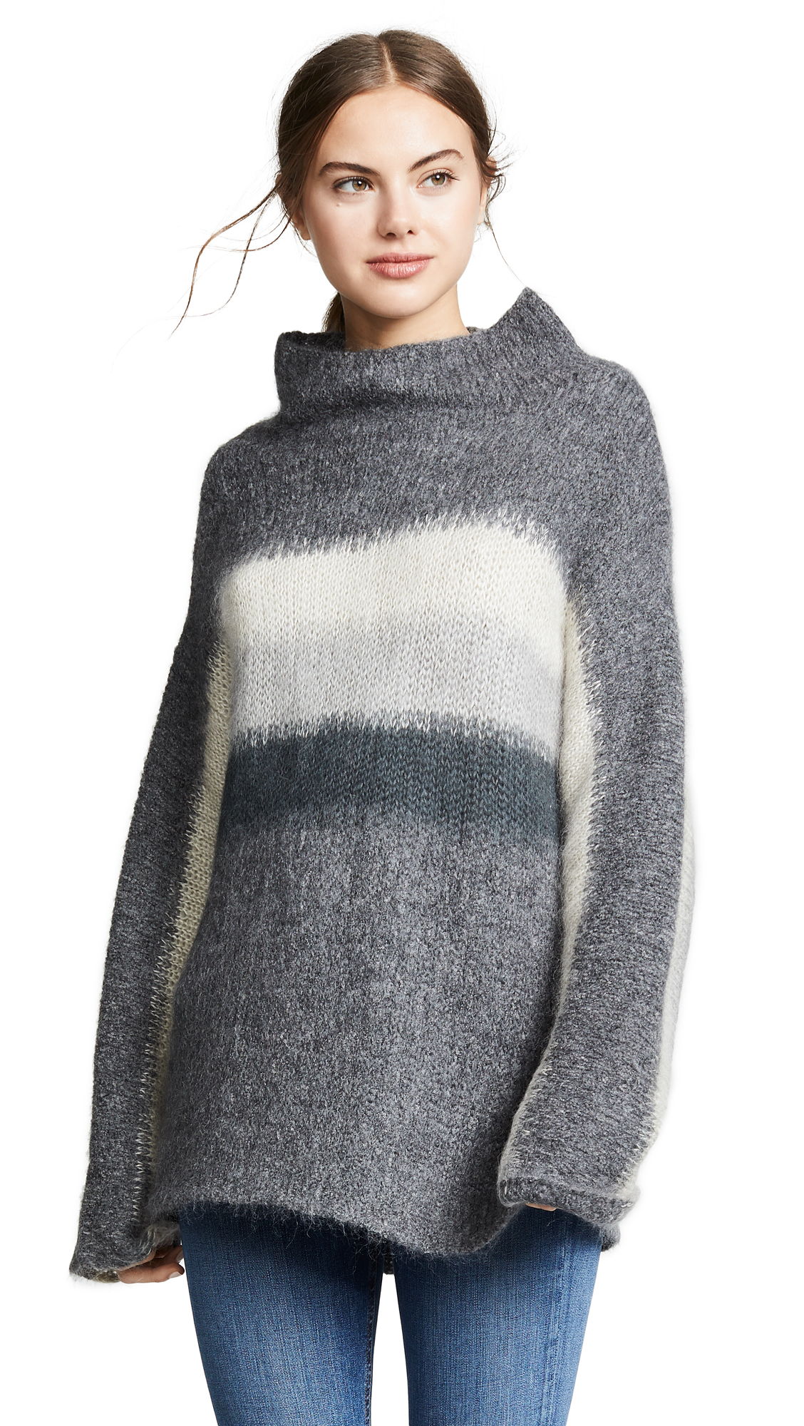 Holland Stripe Merino Wool & Mohair Blend Sweater in Charcoal