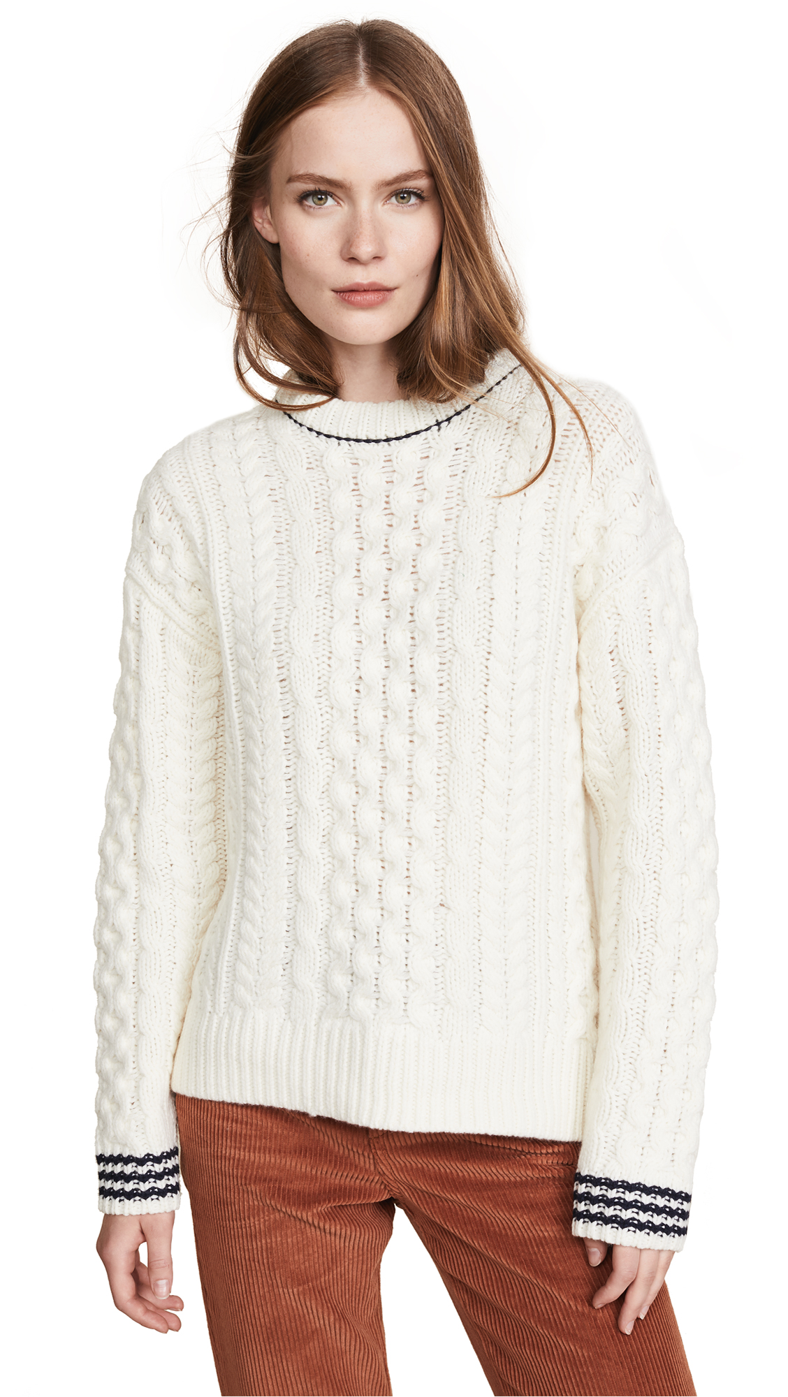 Rag & Bone Brighton Aran Sweater In Ivory/Navy