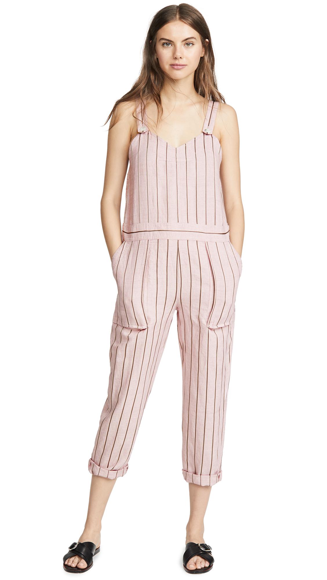 Rag & Bone Nina Striped Linen-Blend Jumpsuit In Pink Multi