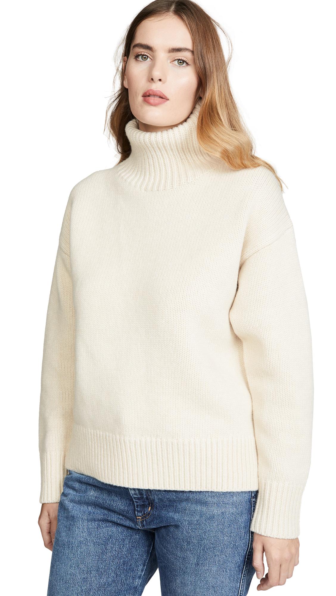 Rag & Bone Lunet Lambs Wool Turtleneck Sweater In White