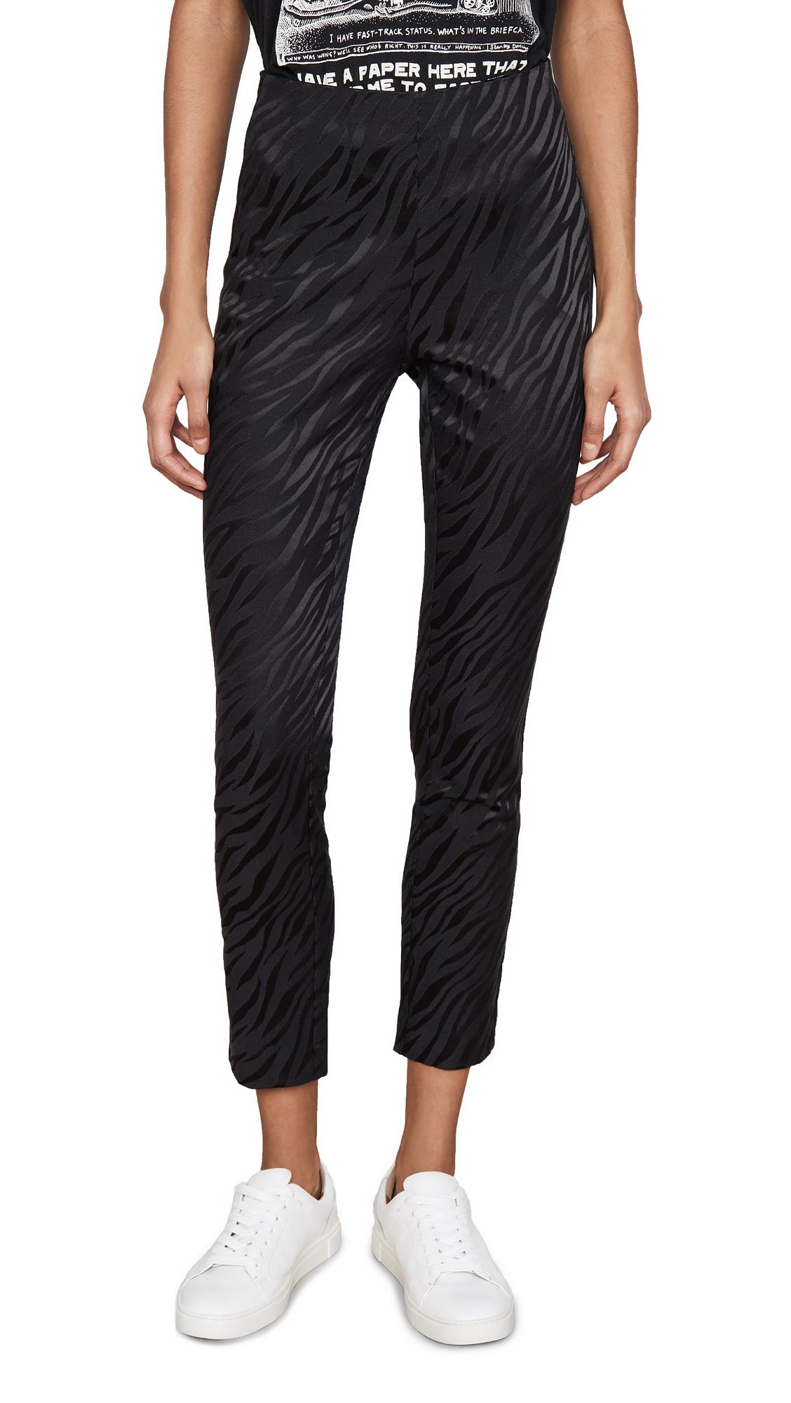 Rag & Bone Simone Zebra Print Cropped Pants In Black