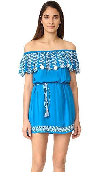 RahiCali Daisy Off Shoulder Dress - Ocean Blue
