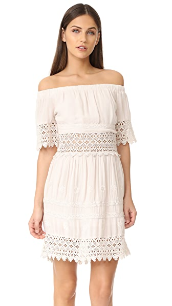 RahiCali Daisy Field Off Shoulder Dress - Ivory