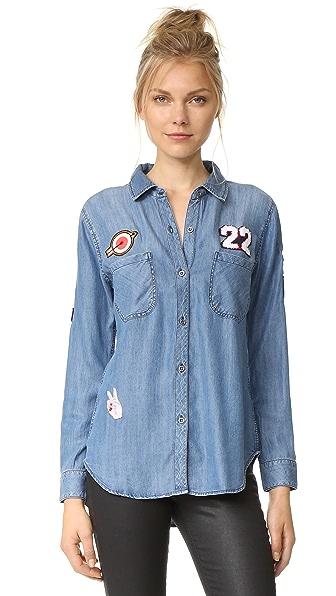 RAILS Patch Button Down Shirt - Dark Vintage