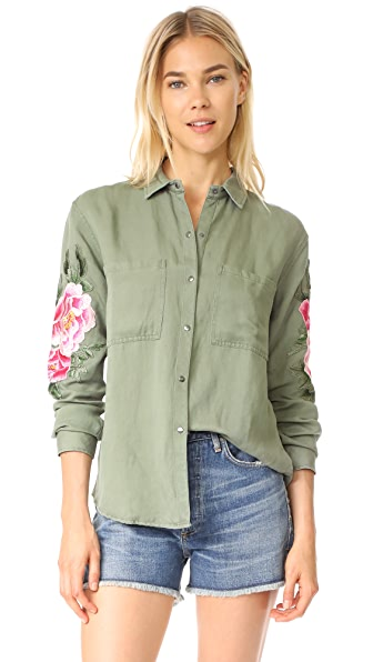 RAILS Marcel Button Down In Sage With Pink Floral Patches
